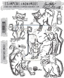 CMS251 Stampers Anonymous Tim Holtz Cling Mounted Stamp Set - Crazy Cats